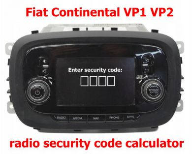 Security code calculator for Fiat VP1 VP2 radio's and navigation's made by Continental