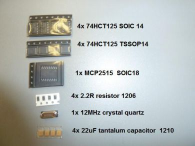 CarProg repair kit - 4x 74HC125, 4x 22uF capasitors, 1x MCP2515, 4x MC74HCT125 TSSOP-14