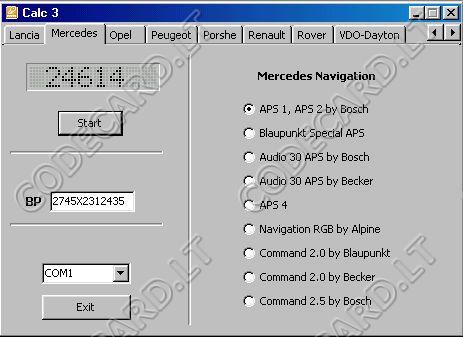 Universal Car Navigation Code Calculator CCN