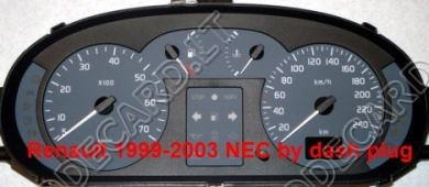 By dashboard connector programming with NEC for Renault Megane, Scenic, Traffic dashboards