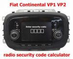 Fiat VP1 VP2 radio's and navigation's made by Continental security code calculator
