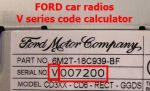 Ford car radio V series security code calculator